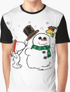 Snoopy Snowman Graphic T-Shirt