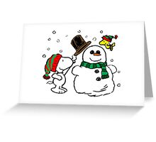 Snoopy Snowman Greeting Card