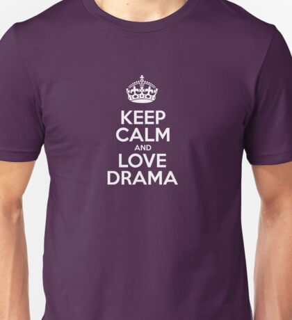 Keep Calm and Love Drama - Pink Leather Unisex T-Shirt
