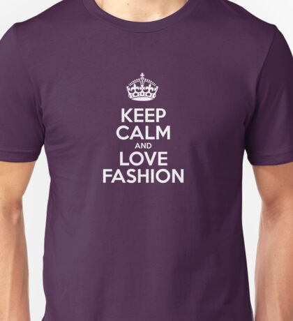 Keep Calm and Love Fashion - Pink Leather Unisex T-Shirt