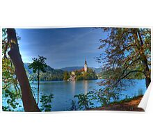 A View to the Church, Lake Bled Poster