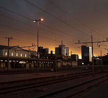Sunset over ljubljana Train Station by jcjc22