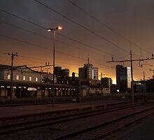 Sunset over ljubljana Train Station by jcjc22