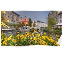 A View Towards the Three Bridges, Ljubljana Poster