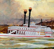 A digital painting of The Robert E Lee Paddle Wheeler 1866 by Dennis Melling