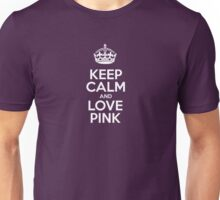Keep Calm and Love Pink - Pink Leather Unisex T-Shirt