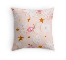 Christmas paper snowflakes on pink Throw Pillow