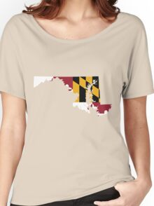 Maryland Flag [Wht]   State Line   SteezeFSC Women's Relaxed Fit T-Shirt