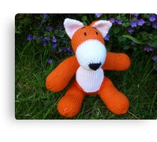 Hand knitted little fox Canvas Print