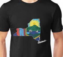New York Flag [Wht] | State Line | SteezeFSC Unisex T-Shirt