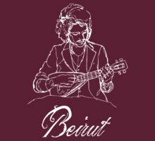 Beirut - Zach Condon with ukulele - white by Alex Magnus