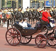 Peincess'Beatrice, Eugenie &  Prince Andrew at Trooping the Colour by Keith Larby