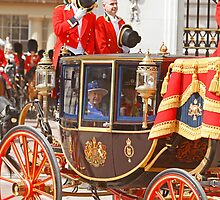 The Queen at Trooping The Colour  by Keith Larby