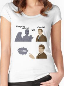 Weeping Angel VS Castiel Women's Fitted Scoop T-Shirt