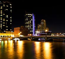 Grand Rapids Bridge at Night by naturesangle