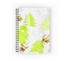 Christmas paper origami texture green tree and santa Spiral Notebook