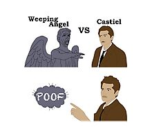 Weeping Angel VS Castiel Photographic Print