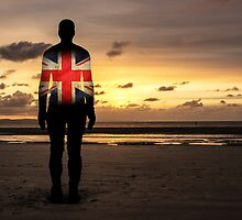 Crosby Beach Iron Man With Union Jack by Paul Madden
