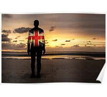 Crosby Beach Iron Man With Union Jack Poster
