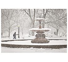 Fountain in the Snow Photographic Print