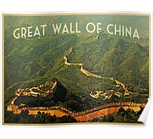 Vintage Great Wall Of China Poster