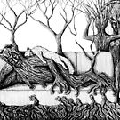 Life of Trees surreal ink pen drawing on paper by Vitaliy Gonikman