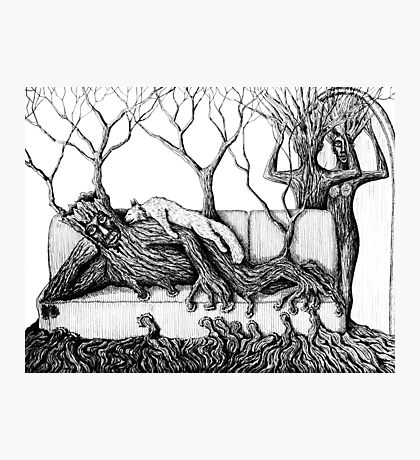 Life of Trees surreal ink pen drawing on paper Photographic Print