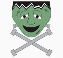 Frankenstein Monster Face And Crossbolts Kids Tee