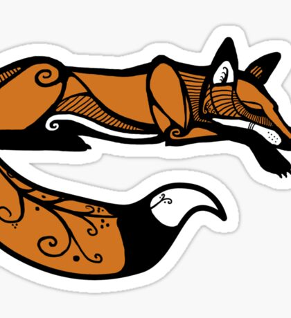Curled Up Red Fox Sticker