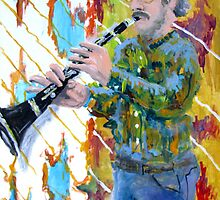 Man playing a clarinet by Douglas Durand