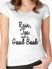 Rain, Tea and a Good Book Women's Fitted Scoop T-Shirt