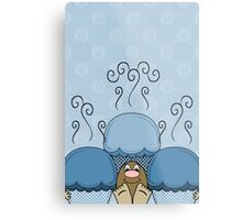 Cute Monster With Blue Frosted Cupcakes Metal Print