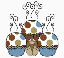 Cute Monster With Blue And Brown Polkadot Cupcakes One Piece - Short Sleeve