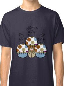 Cute Monster With Blue And Brown Polkadot Cupcakes Classic T-Shirt