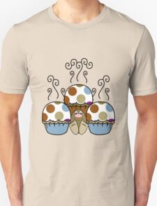 Cute Monster With Blue And Brown Polkadot Cupcakes Unisex T-Shirt
