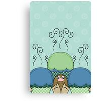 Cute Monster With Blue And Cyan Frosted Cupcakes Canvas Print
