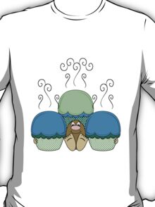 Cute Monster With Blue And Cyan Frosted Cupcakes T-Shirt