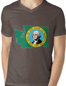 Washington State [Wht] | SteezeFSC Mens V-Neck T-Shirt