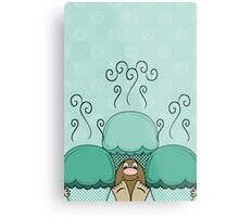 Cute Monster With Cyan Frosted Cupcakes Metal Print