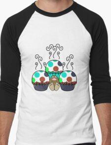 Cute Monster With Cyan And Blue Polkadot Cupcakes Men's Baseball ¾ T-Shirt