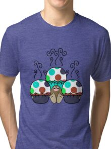 Cute Monster With Cyan And Blue Polkadot Cupcakes Tri-blend T-Shirt