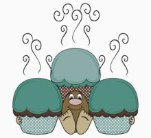 Cute Monster With Cyan And Orange Frosted Cupcakes Kids Clothes