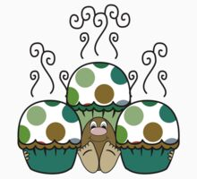 Cute Monster With Green And Brown Polkadot Cupcakes by mydeas