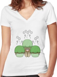 Cute Monster With Green And Yellow Frosted Cupcakes Women's Fitted V-Neck T-Shirt