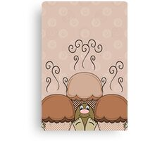 Cute Monster With Orange Frosted Cupcakes Canvas Print