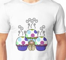 Cute Monster With Pink And Blue Polkadot Cupcakes Unisex T-Shirt