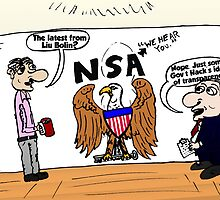 Liu Bolin and the NSA Editorial Cartoon by Binary-Options