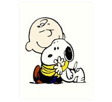 Charlie Brown Loves Snoopy Hug Art Print