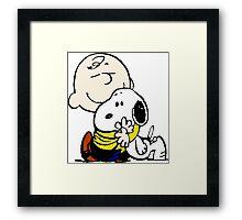 Charlie Brown Loves Snoopy Hug Framed Print