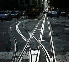 San Francisco Silver Cable Car Tracks by Georgia Mizuleva